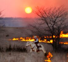 Kansas Rancher Checks Fire Line Sticker