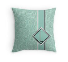 1920s Blue Deco Swing with Monogram letter L Throw Pillow