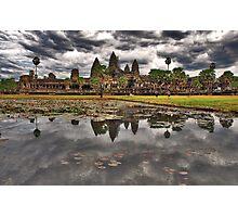 Dark clouds over Angkor Wat Photographic Print