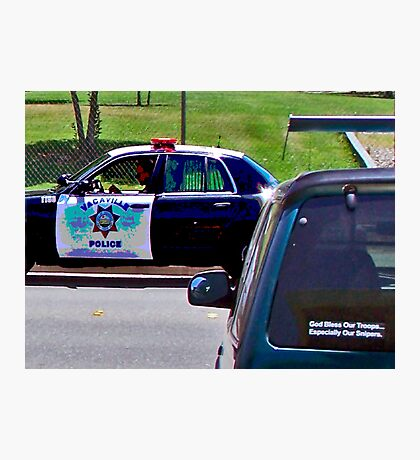 OFFICER TICKETING A LIMO DRIVER Photographic Print