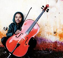 Gomolemo and her Cello by RebeccaDaisey