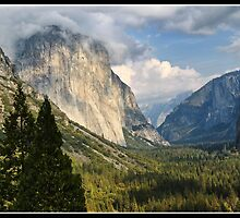 Yosemite National Park, el capitan mountain landscape with fog rolling in, California, USA. by upthebanner
