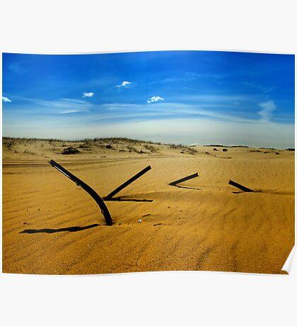 Metal shadows, Stockton Beach, NSW Australia Poster