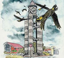 Cockys over Ulverstone. by SnakeArtist
