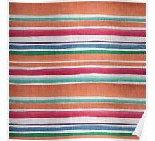Vintage orange green texture stripes pattern Poster