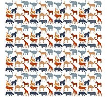 Vintage orange gray safari animal pattern Photographic Print