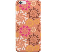 Vintage pink orange retro floral pattern iPhone Case/Skin
