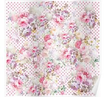 Vintage pastel pink floral pink polka dots pattern Poster