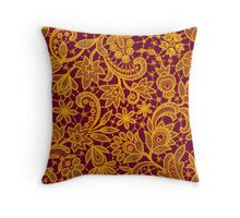 Gold lace on red background. Seamless pattern. Throw Pillow