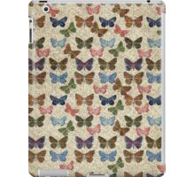 Vintage jute pink blue cute butterflies pattern iPad Case/Skin