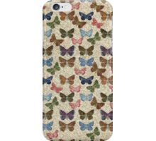 Vintage jute pink blue cute butterflies pattern iPhone Case/Skin