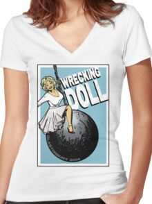 Wrecking Doll (blue) Women's Fitted V-Neck T-Shirt