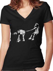 Banksy Star Wars Women's Fitted V-Neck T-Shirt