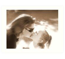 Sepia Kisses Art Print