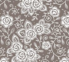 Roses lace seamless pattern. by Laces