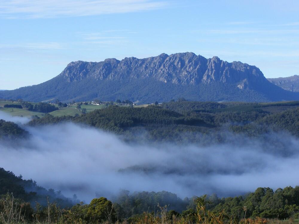 foggy Lake Barrington and Mt Roland, Tasmania by gaylene