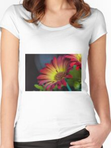Red Yellow Flower Women's Fitted Scoop T-Shirt