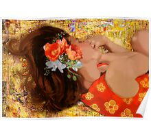 Girl on Yellow Quilt Poster