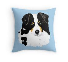 Black Tri Australian Shepherd Portrait Throw Pillow