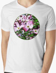 Pink Dogwood Blossoms Mens V-Neck T-Shirt