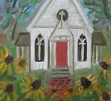 Country Church by sharonkfolkart