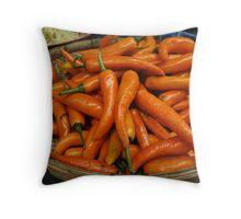 Orange Chilies Throw Pillow
