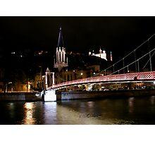 Footbridge in night Photographic Print