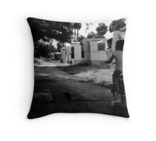 Early Morning ride : Trailer Park America Series  Throw Pillow