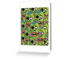 A bunch of Zombie Skulls Greeting Card
