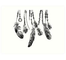 background with hand drawn feathers Art Print