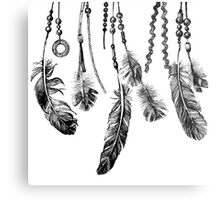 background with hand drawn feathers Metal Print