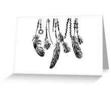 background with hand drawn feathers Greeting Card
