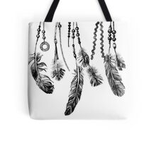 background with hand drawn feathers Tote Bag
