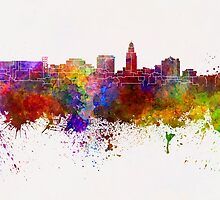 Lincoln skyline in watercolor background by paulrommer