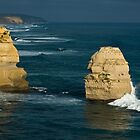 Little stacks to east of 12 Apostles Great Ocean Road 200804220026  by Fred Mitchell