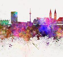 Bremen skyline in watercolor background by paulrommer