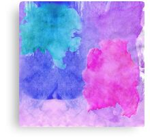 Pink, Purple, Teal, and Blue Watercolor Smudges Canvas Print