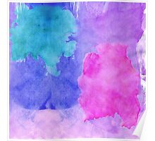 Pink, Purple, Teal, and Blue Watercolor Smudges Poster