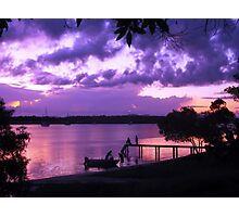 Purple Fishing Sunset Photographic Print