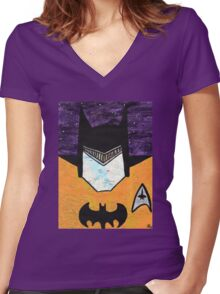 Batman as Geordi La Forge Women's Fitted V-Neck T-Shirt
