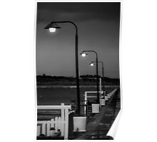 Breakwater in black and white Poster