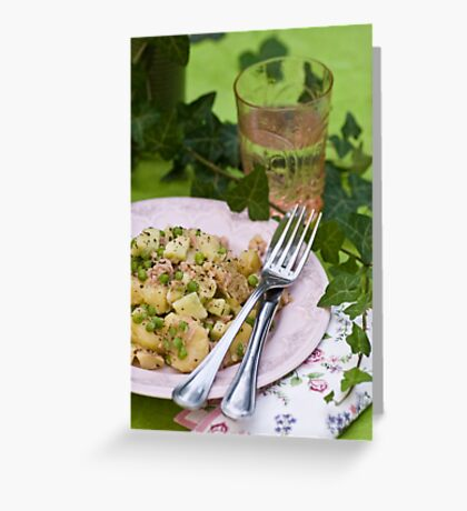 Peppery Potato and Tuna Salad With Cucumber, Peas and Mustard Dressing With Honey and Thyme Greeting Card
