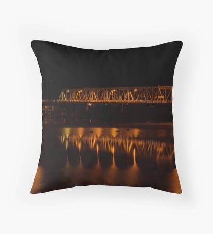 Yarrawonga-Mulwala Bridge at Night Throw Pillow