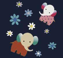 Elephants and flowers Kids Tee
