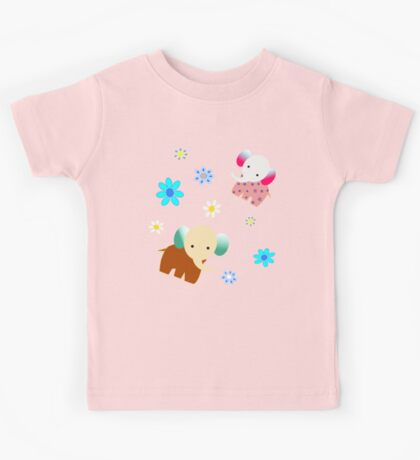 Elephants and flowers Kids Tee