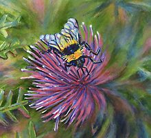 Bee on thistle painting by Marion Yeo