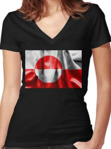 Greenland Flag Women's Fitted V-Neck T-Shirt