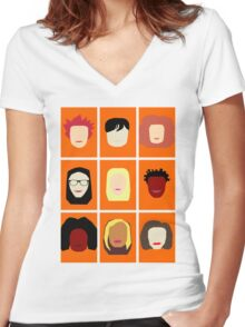 Orange is the New Black Inspired Minimalist Design Women's Fitted V-Neck T-Shirt