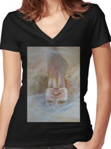 Cracked Down - An Upside Down Portrait Of A Woman Women's Fitted V-Neck T-Shirt