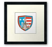 Hand Holding Scales of Justice Shield Retro Framed Print